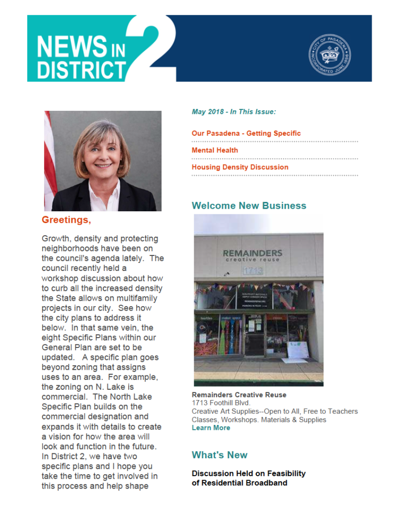 Pasadena District 2 May 2018 Newsletter